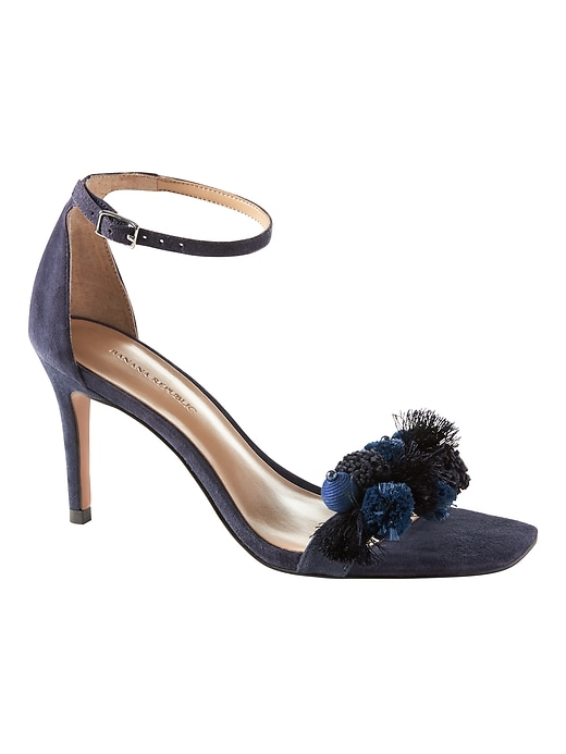 Banana Republic Womens Pom Pom Bare High Heel Sandal Navy Suede Size 10