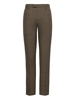 Slim Plaid Smart-Weight Performance Wool Blend Suit Pant