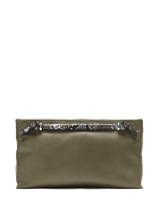 Double Handle Leather Clutch by Banana Repbulic