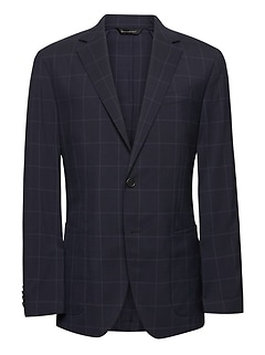 Slim Navy Smart-Weight Performance Wool Blend Suit Jacket