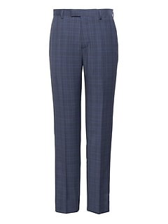 Slim Navy Plaid Italian Wool Suit Pant
