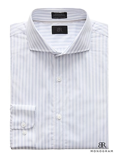 Monogram Grant Slim-Fit Italian Cotton Stripe Dress Shirt