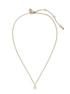 Pave Wishbone Pendant Necklace