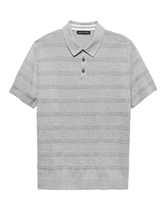SUPIMA® Cotton Texture Stripe Sweater Polo