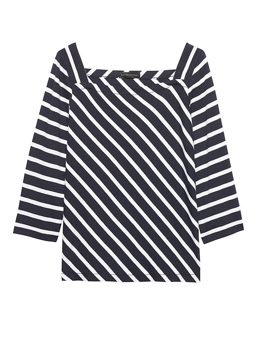 Stripe Wide Sleeve Square Neck Top by Banana Repbulic