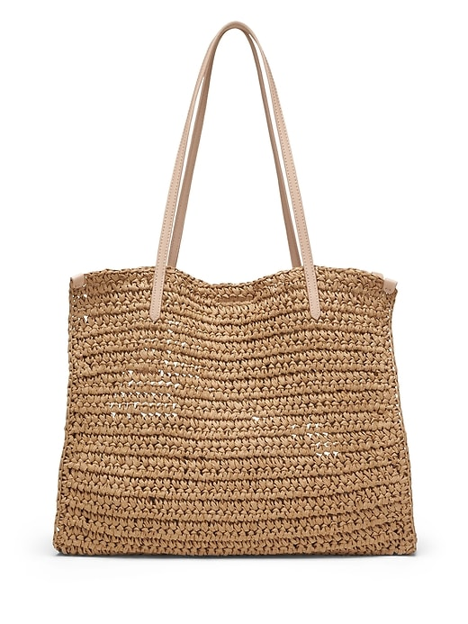Packable Straw Square Tote by Banana Repbulic