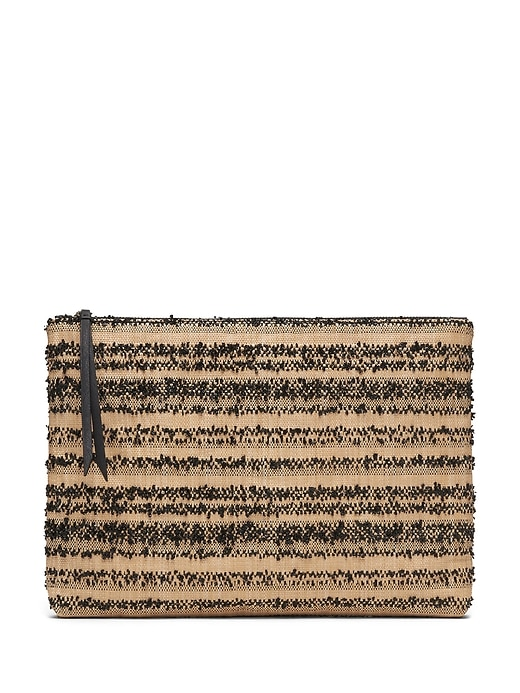 Straw Large Zip Pouch by Banana Repbulic