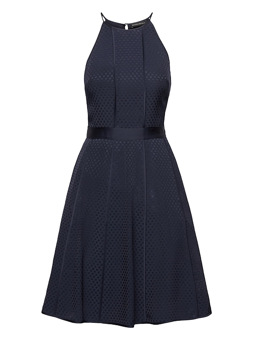 Petite Polka Dot Paneled Fit And Flare Dress by Banana Repbulic
