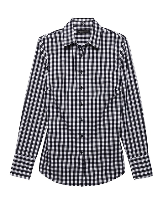 Petite Riley Tailored Fit Gingham Super Stretch Shirt by Banana Repbulic