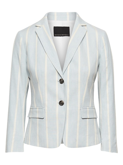 Petite Fitted Crop Stretch Linen Cotton Stripe Blazer by Banana Repbulic