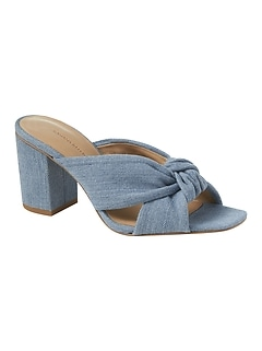 Peep-Toe Knot Denim Mule