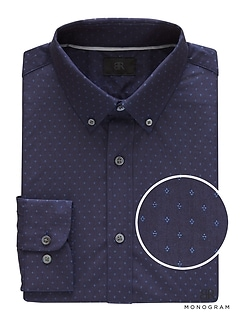 Monogram Grant Slim-Fit Italian Cotton Print Shirt
