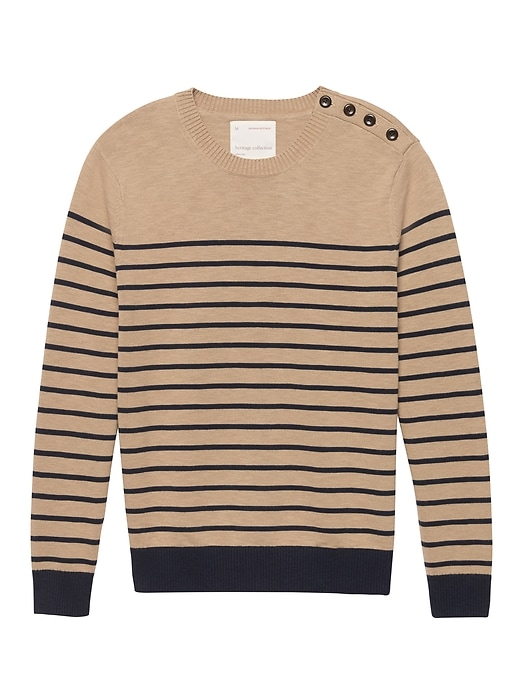Heritage Mariner Stripe Cotton Button Shoulder Sweater by Banana Repbulic