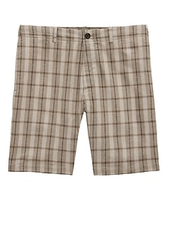 "9"" Cotton-Linen Aiden Slim Plaid Short"