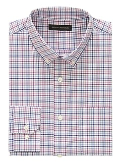 NEW Slim-Fit Tech-Stretch Cotton Grid Shirt