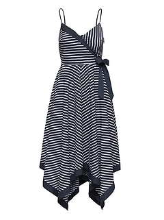 Stripe Strappy Handkerchief-Hem Dress