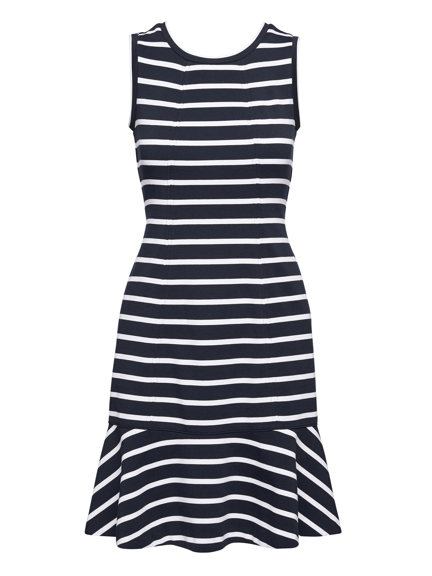 Stripe Paneled Ponte Fit And Flare Dress by Banana Repbulic
