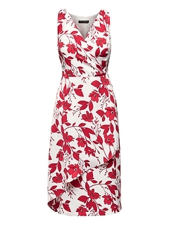 Floral Wrap-Effect Midi Dress