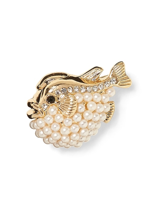 Pearl Blowfish Pin by Banana Repbulic