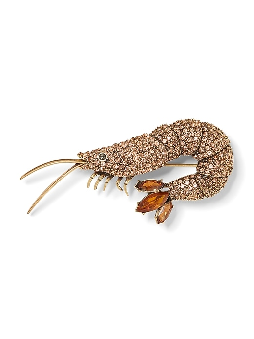 Jeweled Shrimp Brooch by Banana Repbulic
