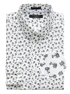 Grant Slim-Fit Non-Iron Palm Print Shirt