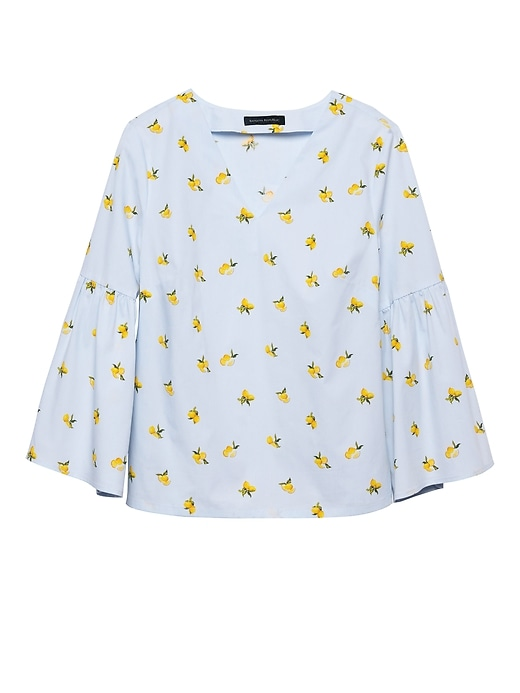 Lemon Print Super Stretch Bell Sleeve Top by Banana Repbulic