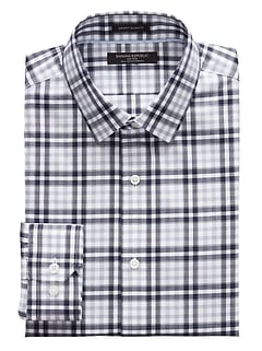 Grant Slim-Fit Non-Iron Plaid Dress Shirt