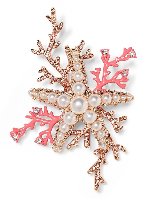Coral Starfish Brooch by Banana Repbulic
