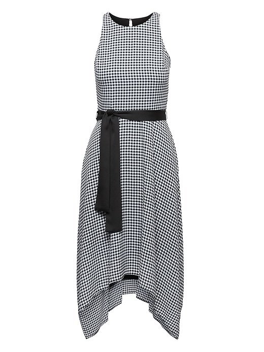 Gingham Racer Neck Fit And Flare Dress by Banana Repbulic