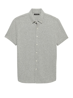 Grant Slim-Fit Stretch Cotton-Linen Knit Shirt