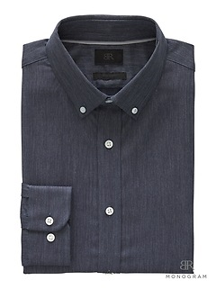 Monogram Grant Slim-Fit Italian Cotton Herringbone Shirt