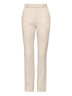 Petite Ryan Slim Straight-Fit Stretch Linen-Cotton Pant