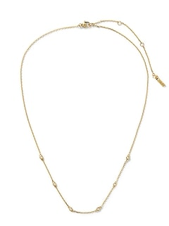 Everyday Luxuries 14k Gold-Plated CZ Stone Necklace