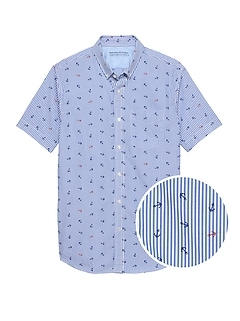 Grant Slim-Fit Luxe Poplin Anchor Stripe Shirt