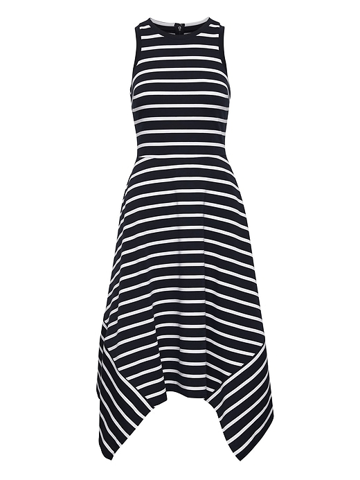 Stripe Handkerchief Hem Ponte Dress by Banana Repbulic