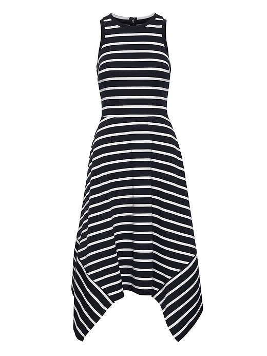 Petite Stripe Handkerchief Hem Ponte Dress by Banana Repbulic
