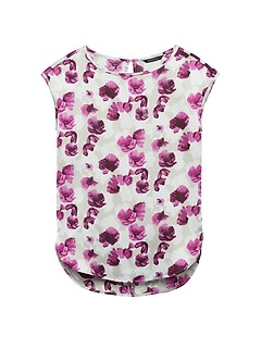 Petite Floral High-Low Curved Hem Top