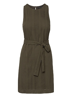 Eyelet Shift Dress with Tie at Waist