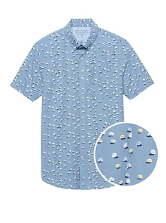 Grant Slim-Fit Luxe Poplin Umbrella Print Shirt
