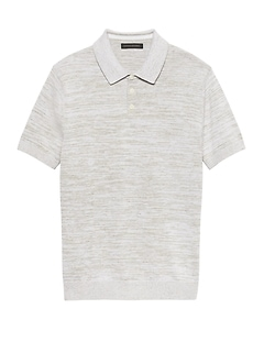 Cotton-Linen Two-Tone Sweater Polo