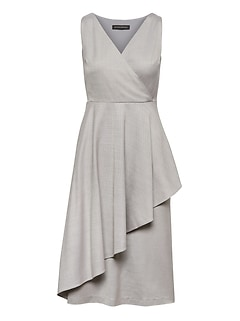 Wrap-Effect Wool Blend Midi Dress