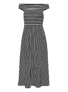 Stripe Ponte Off-the-Shoulder Dress