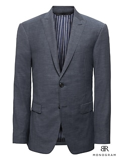 Monogram Slim Navy Wool-Cotton Suit Jacket