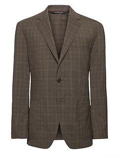 Slim Plaid Smart-Weight Performance Wool Blend Suit Jacket