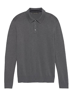 Heathered Cotton Sweater Polo