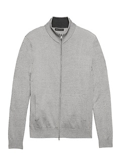 Premium Cotton Cashmere Full-Zip Sweater Jacket
