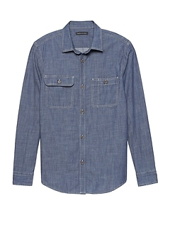 NEW Slim-Fit Double-Pocket Chambray Shirt