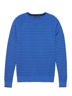Premium Cotton Cashmere Stripe Crew-Neck Sweater