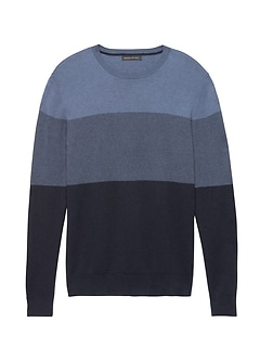 Silk Cotton Cashmere Block-Stripe Sweater