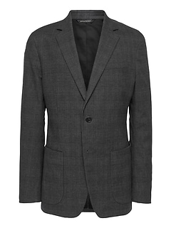 Slim Plaid Stretch-Cotton Blazer